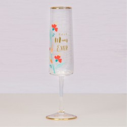 Best Mum Ever Glass Flute Flowers Gift Boxed