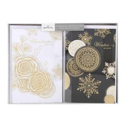 Hallmark Handmade Christmas Xmas Boxed Cards 'Foil and Diamantes' 10 Cards, 2 Designs