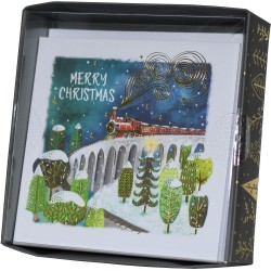 Steam Train Snow Scene Xmas Box of 10 Luxury Foil Finish Christmas Cards by Ling Design
