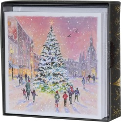 Christmas Tree In Town Scene Box of 10 Luxury Glitter Finish Xmas Cards by Ling Design