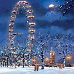 London Eye Big Ben Embankment in snow Single Luxury Christmas Card
