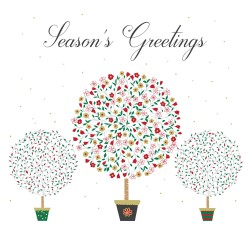 Seasons Greetings Three Potted Flitter Trees Single Luxury Christmas Card