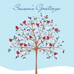 Seasons Greetings Flitter Robins in Tree Snow Single Luxury Christmas Card