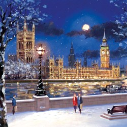 Palace of Westminster London Big Ben Embankment in snow Single Luxury Christmas Card