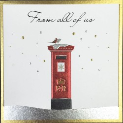 Red Post Box & Robin Single - From All Of Us Single Xmas Christmas Card