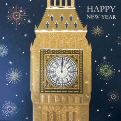 London Big Ben Foil Embossed Flitter Finish Single Happy New Year Greeting Card
