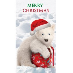 Christmas Card Baby Polar Bear Bauble Goggly Eyes