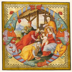 Adoration of the Magi (Illuminated letter O) - Luxury Foil Embossed Premium Art Christmas & New Year Greeting Cards by Fitzwilliam Museum Pack of 10