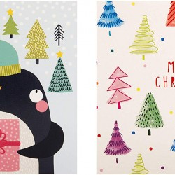 Merry Penguin & Trees 20 Children & Cancer Charity Christmas Cards (10 each of 2 Designs) Xmas Simply for you by Hallmark