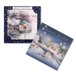Thomas Kinkade - The Painter of Light 16 Foil Finish Christmas Cards (8 each of 2 Designs) Xmas New Year Box by Hallmark