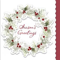 Holly Wreath 6 Luxury Glitter Foil & Die Cut Finish Barnardos & Cancer Now Charity Christmas Cards Xmas Box by Hallmark