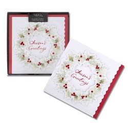 Holly Wreath 6 Luxury Glitter Foil & Die Cut Finish Barnardos & Cancer Now Charity Christmas Cards Xmas Box by Hallmark