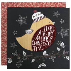Robin and Stockings 8 Handmade Foil Finish Blank Christmas Cards (4 each of 2 Designs) Xmas Box by Hallmark
