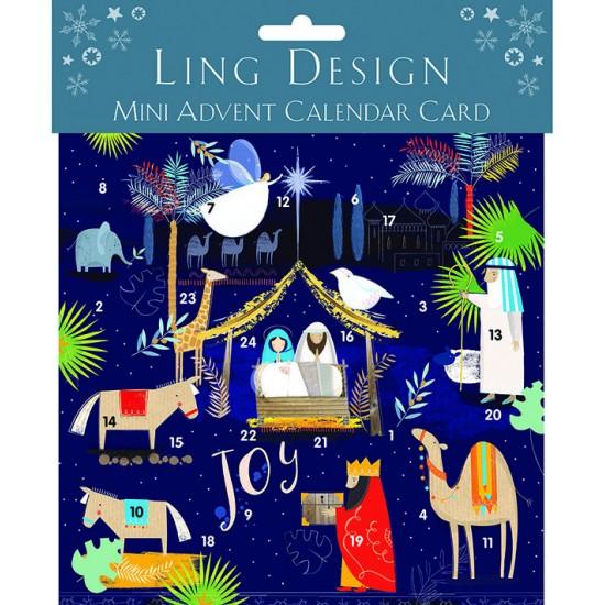 Bethlehem Nativity Mini Advent Calendar Card for Christmas Xmas by Ling Design