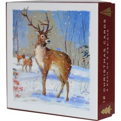 Winter Stag Christmas Deluxe Box of 12 Assorted Matt Finish Xmas Cards by Ling Design