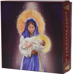 Madonna & Child Holy Christmas Deluxe Box of 12 Assorted Matt Finish Xmas & New Year Cards by Ling Design