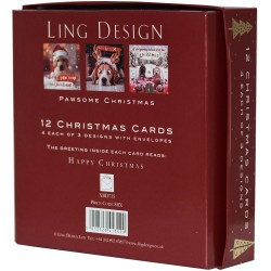 Dogs Pawsome Christmas Deluxe Box of 12 Assorted Matt Finish Xmas Cards by Ling Design