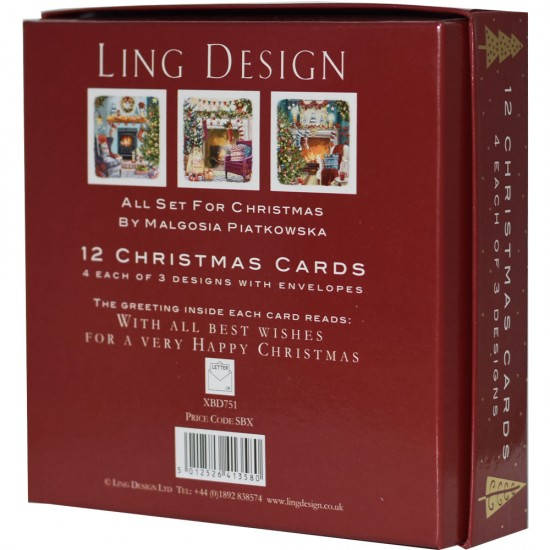 All Set for a Cosy Christmas Deluxe Box of 12 Assorted Matt Finish Xmas Cards by Ling Design