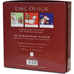 Dachshund Dog friends Christmas Deluxe Box of 12 Assorted Matt Finish Xmas Cards by Ling Design