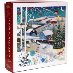 Winter Village Landscape Art Christmas Deluxe Box of 12 Assorted Matt Finish Xmas Cards by Ling Design