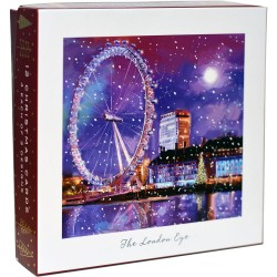Tower Bridge London Eye Somerset House Christmas Deluxe Box of 12 Assorted Matt Finish Xmas Cards by Ling Design