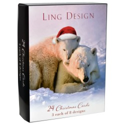 Festive Animals Christmas Box Assortment of 24 Xmas & New Year Cards by Ling Design (3 each of 8 Designs)