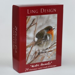 Winter Visitors Animal Photograph Christmas Box Assortment of 24 Xmas & New Year Cards by Ling Design (3 each of 8 Designs)