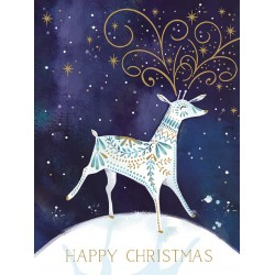 Midnight Reindeer Happy Christmas 8 Luxury Foil Finish Xmas and New Year Cards Box