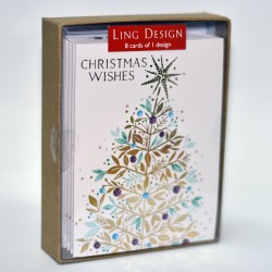 Golden Tree Christmas Wishes 8 Luxury Foil Finish Xmas and New Year Cards Box