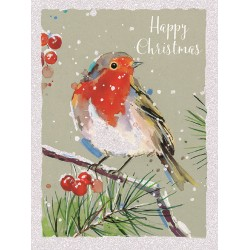 Robin Peached on Branch Happy Christmas 8 Luxury Glitter Finish Xmas and New Year Cards Box