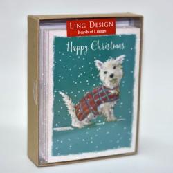 Highland White Dog in Tartan Coat Happy Christmas 8 Luxury Glitter Finish Xmas and New Year Cards Box