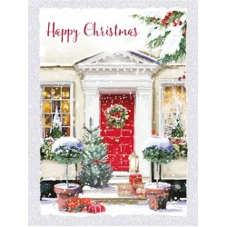 Red Door Welcome Home Happy Christmas 8 Luxury Glitter Finish Xmas and New Year Cards Box