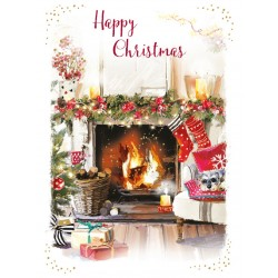 Warm and Festive Fireplace Happy Christmas 8 Luxury Foil Finish Xmas and New Year Cards Box