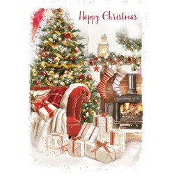 Warm & Cosy Festive Home Happy Christmas 8 Luxury Foil Finish Xmas and New Year Cards Box