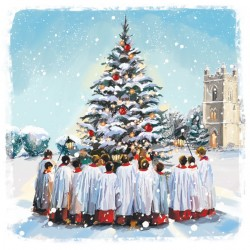 Church Choir around Tree Art Xmas Charity Christmas Cards Pack (6 Cards,1 Design)