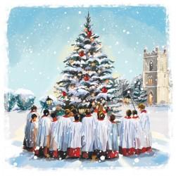 Church Choir around Tree Art Xmas Charity Christmas Cards Pack (6 Cards,1 Design)