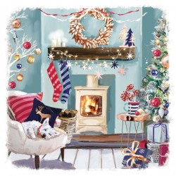 Dog asleep in cosy festive home at Art Xmas Charity Christmas Cards Pack (6 Cards,1 Design)