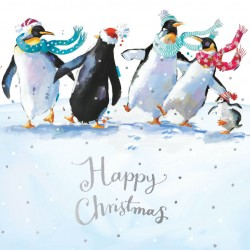 Dancing Penguin Family Glitter Art Xmas Charity Christmas Cards Pack (6 Cards,1 Design)