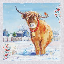 Ox Yak with Robin on farm Glitter Art Xmas Charity Christmas Cards Pack (6 Cards,1 Design)