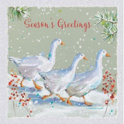 Geese in Snow Glitter Art Xmas Charity Christmas Cards Pack (6 Cards,1 Design)
