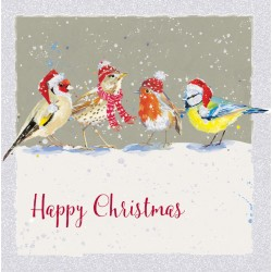 British Birds in Snow Glitter Art Xmas Charity Christmas Cards Pack (6 Cards,1 Design)