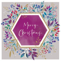 Merry Christmas Foliage and Berries Foil Art Xmas Charity Cards Pack (6 Cards,1 Design)