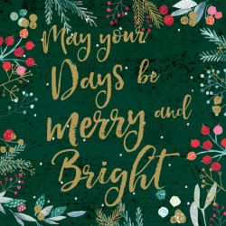 May Your Days be Merry and Bright Foil Art Xmas Charity Christmas Cards Pack (6 Cards,1 Design)