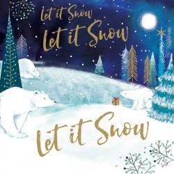 Let it Snow Polar Bears Foil Art Xmas Charity Christmas Cards Pack (6 Cards,1 Design)