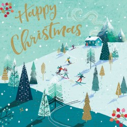 Skiing Slopes and Cosy Cabin Foil Art Xmas Charity Christmas Cards Pack (6 Cards,1 Design)
