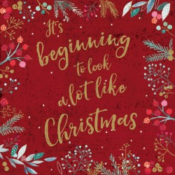 Its Beginning to look a lot like Christmas Foil Art Xmas Charity Cards Pack (6 Cards,1 Design)