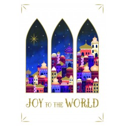 Joy To The World Religious Luxury Foil Art Xmas BHF Charity Christmas Pack (5 Cards,1 Design)
