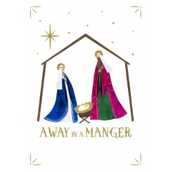 Mary and Joseph Manger Religious Luxury Foil Art Xmas BHF Charity Christmas Pack (5 Cards,1 Design)
