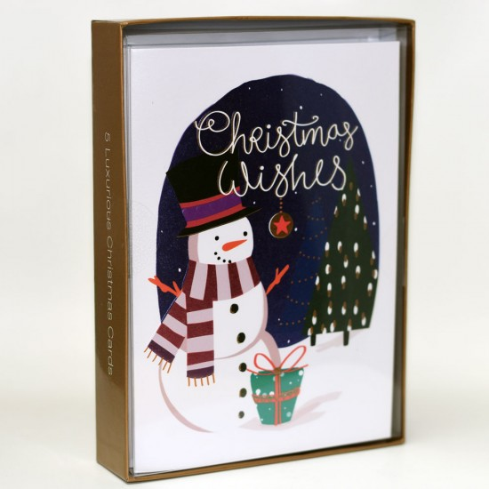 Snowman Box of 5 Luxury Foil Finished Christmas Xmas Cards by Talking Pictures