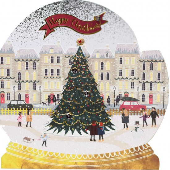 Festive Town Die Cut Snowglobe Box of 5 Luxury Foil Glitter Hand Finished Blank Christmas Xmas Cards by Talking Pictures